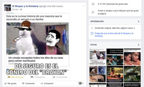 """47 mil 537 personas han dado """"me gusta"""" a la página de Facebook El Brayan y la Kimberly. (Imagen: Captura de pantalla)"""