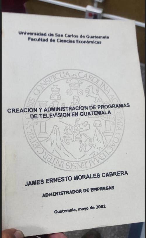 Esta es la portada de la tesis de Jimmy Morales. (Foto: Soy502)