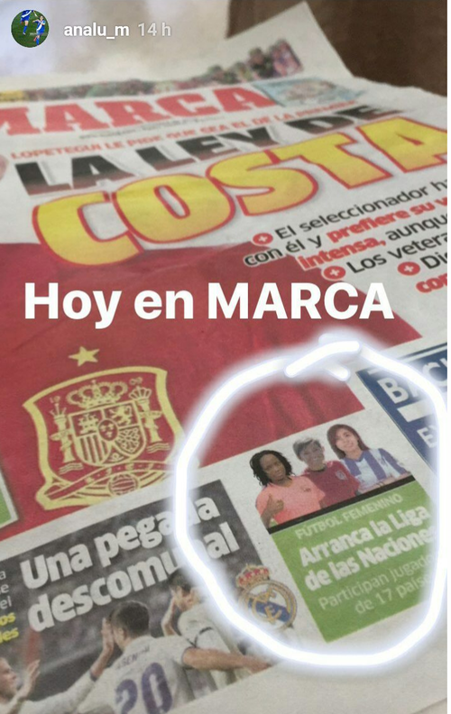 Ana Lucía Martínez apareció en la portada de diario Marca este sábado. (Foto: Ana Lucía Martinez/Instagram)