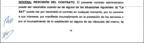 Esta clausula en el contrato permitiría a la SAT rescindir el contrato. (Foto: José Miguel Castañeda/Soy502)