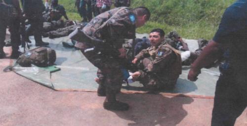Imagen proporcionada por el Ejercito de Guatemala en relación a lo ocurrido en la República del Congo.