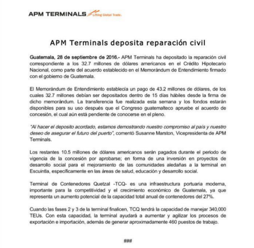Este es el comunicado que emitió APM. (Foto: Captura de pantalla)