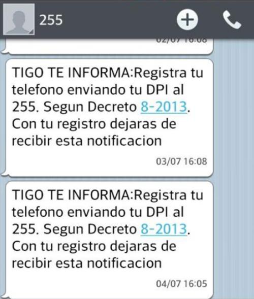 Mensaje de texto enviado a números de teléfono no registrados.