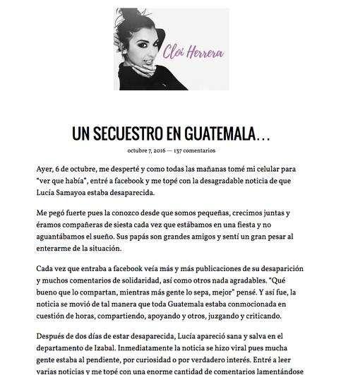 Parte de la entrada en el blog de Cloi Herrera.