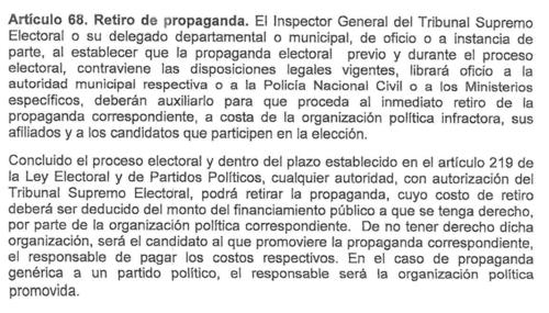 Este es el artículo autoriza el retirar campaña electoral ilegal. (Foto: Captura de Pantalla)
