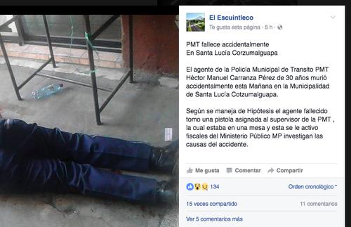 El agente habría accionado el arma de forma accidental. (Foto: Facebook/El Escuintleco)