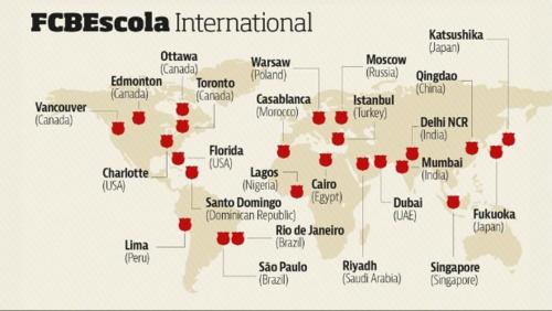 Ubicación de las escuelas del FCB. (Imagen: FCBEscola.com)