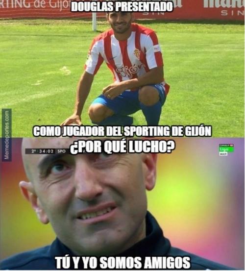 Ni en el Sporting se salva Douglas de los memes. (MemeDeportes)