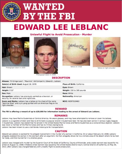 El FBI buscaba a Edward Lee Leblanc por asesinato. (Imagen: captura de pantalla)