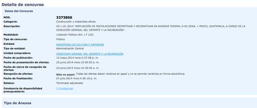 Así aparece el proyecto adjudicado. (Foto: Guatecompras.com)