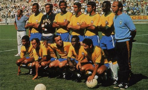 La selección de Brasil en 1970. De pie: Carlos Alberto, Félix, Brito, Piazza, Clodoaldo y Everaldo. Abajo: Jairzinho, Gérson, Tostao, Pelé y Rivelino. (Foto: FIFA.com)
