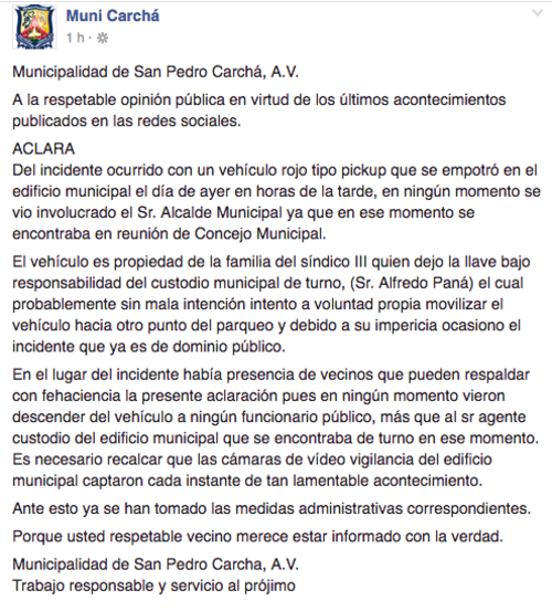 El alcalde de San Pedro Carchá publicó en el Facebook de la Municipalidad una aclaración sobre lo sucedido. (Imagen: Facebook/Muni Carchá)