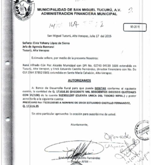 Autorización girada por el acusado para el desvío de fondos de la Municipalidad. (Foto: MP)
