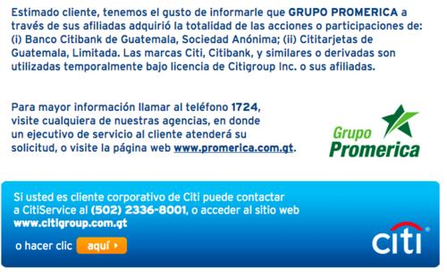 Este es el anuncio que aparece ahora en la página oficial de Citibank.