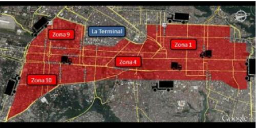La restricción durante todo el día se estableció en el área entre el boulevard Los Próceres, boulevard Liberación, avenida La Castellana, 5a. Calle y 5a. Avenida de la zona 9, 24 calle de la zona 4, avenida Bolívar, 20 calle de la zona 1, avenida Elena, 3a. Avenida y 4a. Calle de la zona 1, avenida Juan Chapín, 12 avenida de la zona 1, 6a. Avenida y diagonal 6 de la zona 10.