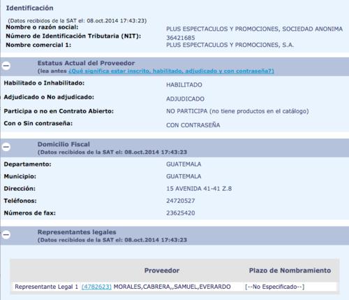 El hermano del Presidente Jimmy Morales figura como representante legal de la empresa. (Foto: captura de pantalla/Guatecompras)