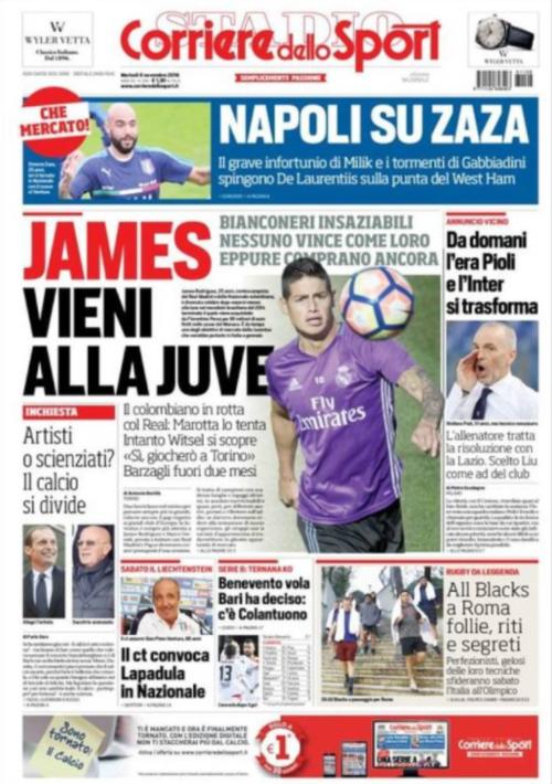 La portada del Corriere dello Sport italiano.