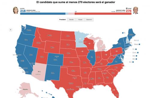 La información generada en Estados Unidos muestra la victoria de Donald Trump sobre Hillary Clinton. (Foto: Infobae)