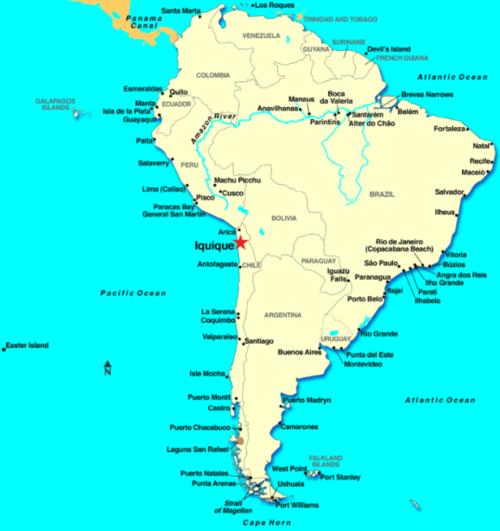 La ubicación de Iquique en Sudamérica, marcado con una estrella roja.