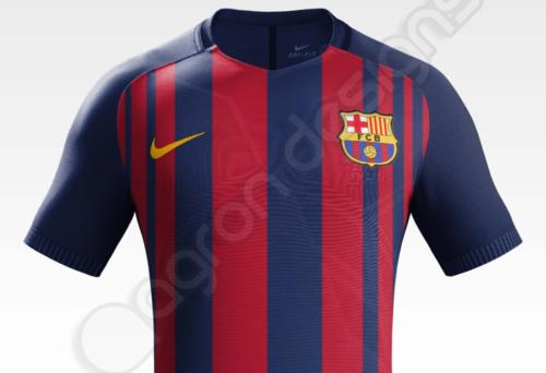 """Esta es la supuesta próxima camiseta del Barça, la que ya llevaría """"Rakuten"""" al frente. (Imagen: FootyHeadlines)"""