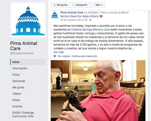 La historia ha sido compartida en redes sociales por el refugio de animales y el asilo ubicado en Arizona.