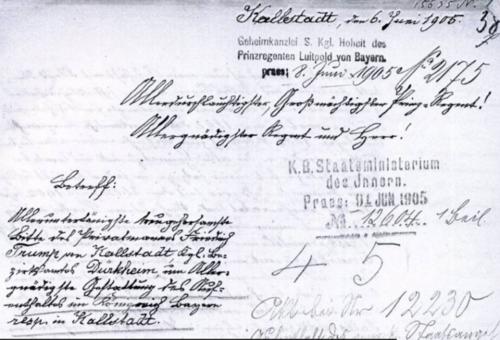 Documento con el que Friedrich Trump intentó recuperar su residencia en Alemania. (Imagen: El Clarín)