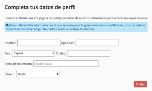 Así es el formulario para llenar tus datos en línea.