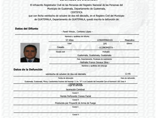 Certificado de defunción de Pavel Centeno, donde se detalla de manera técnica la causa de muerte.