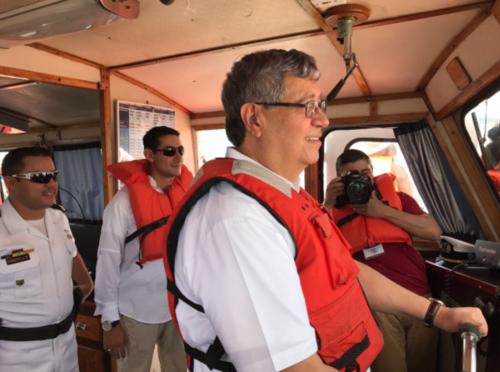 El Vicepresidente hizo un recorrido en Izabal para inspeccionar carreteras y puertos. (Foto: Twitter/Empornac)