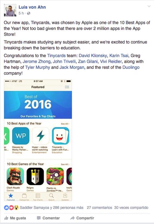 Así anunció Luis von Ahn el logro conseguido en App Store.