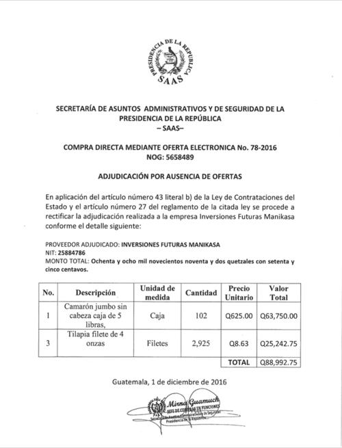 El Estado gastará 88 mil 992 quetzales en tilapias y camarones jumbo para la Casa Presidencial. (Foto: Soy502)