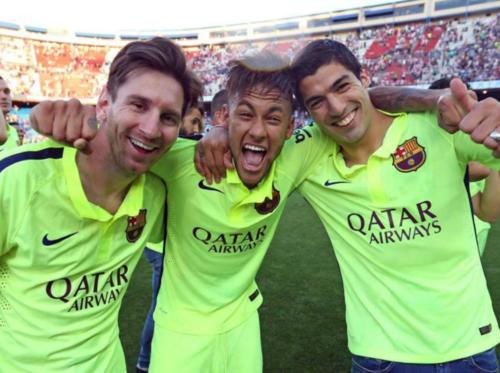 Messi, Neymar y Suárez celebrando el título de Liga 2014-2015. (Foto: Sport)