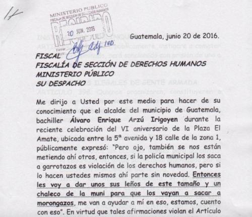 La denuncia contra Arzú fue interpuesta en junio ante el Ministerio Público.