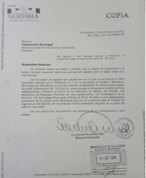 Carta que el Ministerio de Gobernación envió al Concejo Municipal en octubre. (Foto: Mingob)