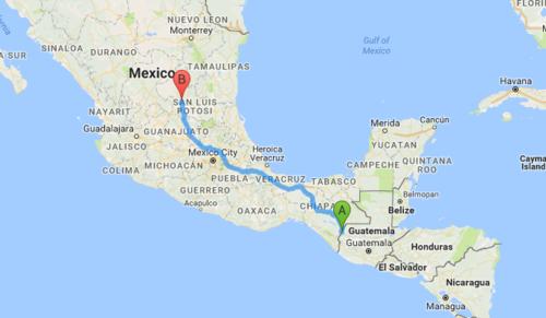 Una consulta en Google Maps muestra el recorrido de mil 500 kilómetros desde La Mesilla, Huehuetenango, hasta la comunidad La Joya en San Luis Potosí, México.