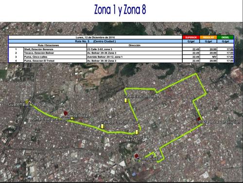 Esta es la ruta de precios bajos en la zona 1 y 8.