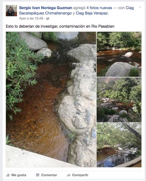 Con estas imágenes del cambio del color del agua del río denuncian su contaminación los usuarios de redes. (Foto: Sergio Ivan Noriega Guzmán)
