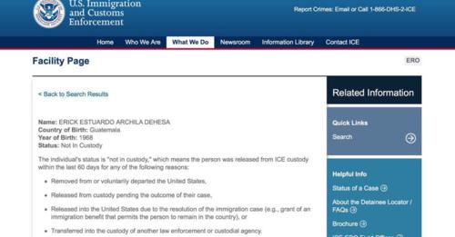 Información del sitio de ICE sobre Archila. (Foto: Twitter/@JLFont001)