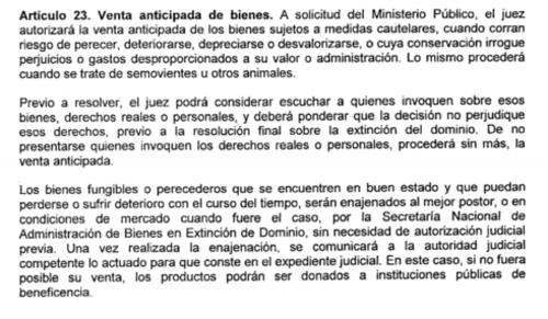 El Artículo 23 de la Ley de Extinción de Dominio establece que si no fuera posible la venta de un bien perecedero, podrá ser donado a instituciones de beneficencia.
