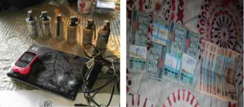 En los allanamientos efectuados esta mañana por las fuerzas de seguridad se localizaron electrodomésticos, teléfonos móviles y dinero en efectivo que la estructura había saqueado de las viviendas. (Foto: MP)