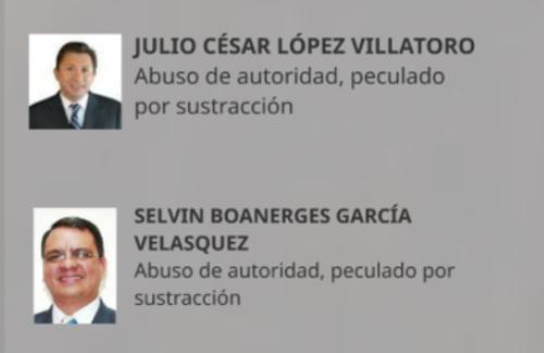 Delitos por los que se señala a López Villatoro y a García Velásquez.