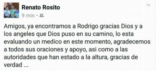Mensaje publicado por el padre de Rodrigo Rosito.