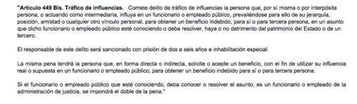 El Código Penal contempla las penas para quienes cometen el delito de tráfico de influencias.