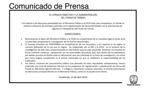 Comunicado publicado por Fontierras en el marco de las vinculaciones a la familia Mendoza.