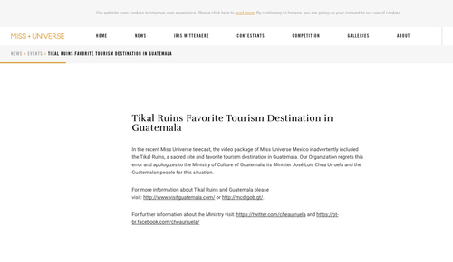 Esto fue lo que dijo Miss Universo sobre el uso de la imagen de Tikal para México.