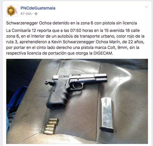 Esta es la publicación de Facebook de la PNC de Guatemala.