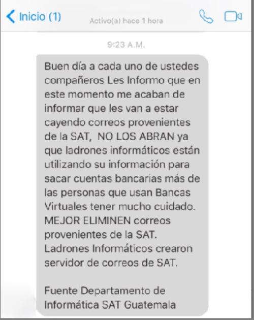 Este es el mensaje que circula en chats de redes sociales y que según la SAT contiene información falsa.