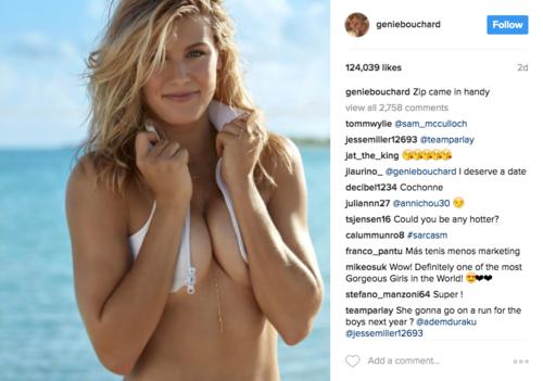 Genie Bouchard ha participado en varias sesiones de la revista Sports Illustrated. (Foto: Captura de Instagram)