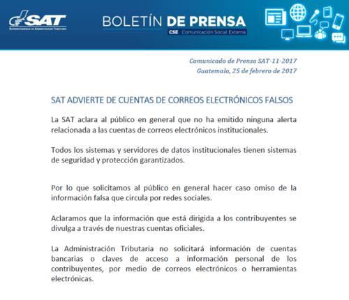 Comunicado de prensa de la SAT emitido el sábado 25 de febrero.