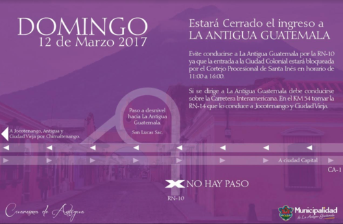 Estas son las indicaciones para que puedas ingresar a Antigua Guatemala este Segundo Domingo de Cuaresma. (Foto: Municipalidad de Antigua)